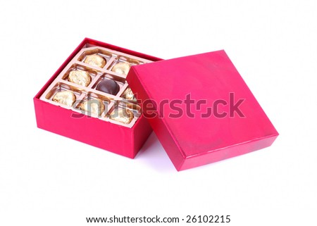 Chocolate in Red Gift Box - stock photo