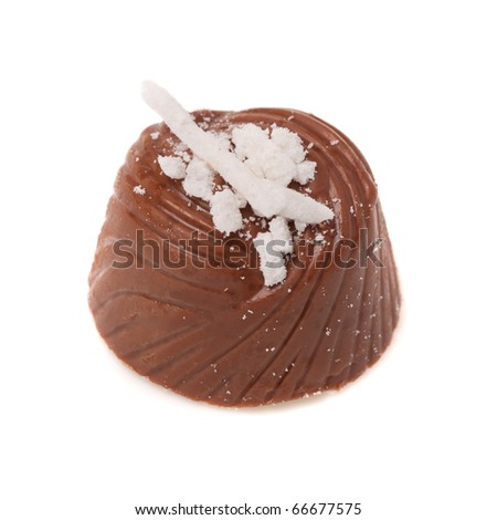 Chocolate isolated in white background. Shallow depth of field. - stock photo