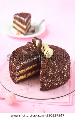 Chocolate Layer Cake with Meringue and Passionfruit Curd decorated with chocolate bow and macarons, on a light pink background. - stock photo