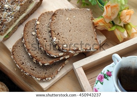 CHOCOLATE  LOAF with nuts topping - stock photo