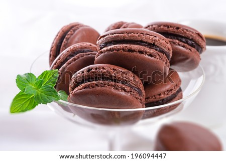 chocolate macarons with cardamom - stock photo