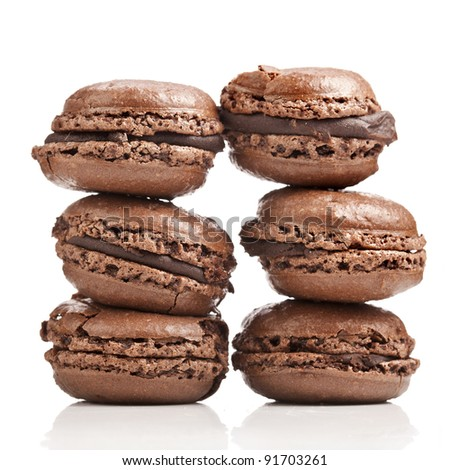 chocolate macaroons isolation on a white background - stock photo