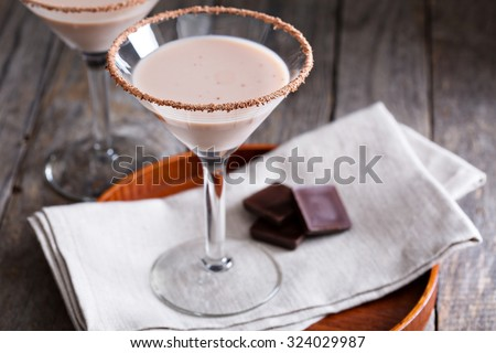 Chocolate martini coctail made from chocolate, cream and vodka - stock photo