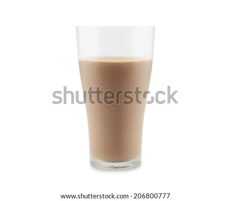 Chocolate milk is the delicious drink on white background - stock photo