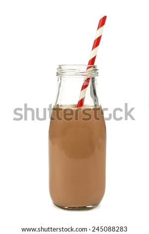 Chocolate milk with straw in a traditional bottle isolated on white  - stock photo