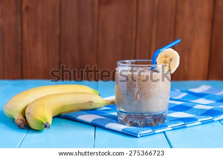 Chocolate milkshake smoothie in glass, selective focus. Weight loss, healthy food, diet and detoxification - stock photo