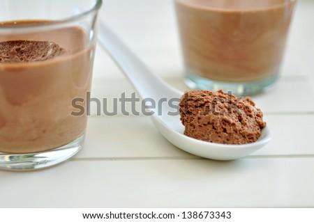 chocolate mousse - stock photo