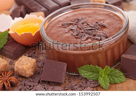 chocolate mousse and ingredient - stock photo