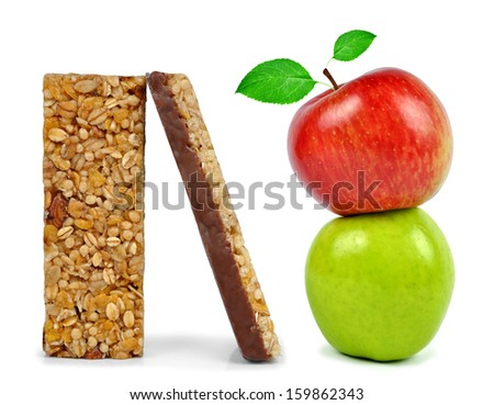 Chocolate Muesli Bars with apples isolated on white background  - stock photo