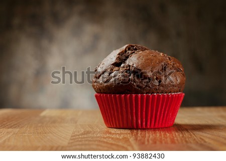 chocolate muffin no decoration - stock photo