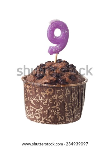 Chocolate muffin with birthday candle for nine year old isolated on white background  - stock photo