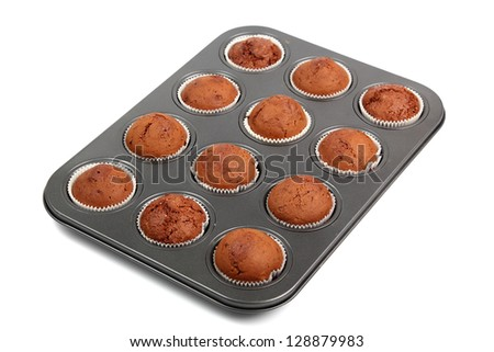 Chocolate Muffins. Isolated with clipping path. - stock photo