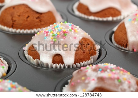 Chocolate Muffins with Sugar Icing - stock photo