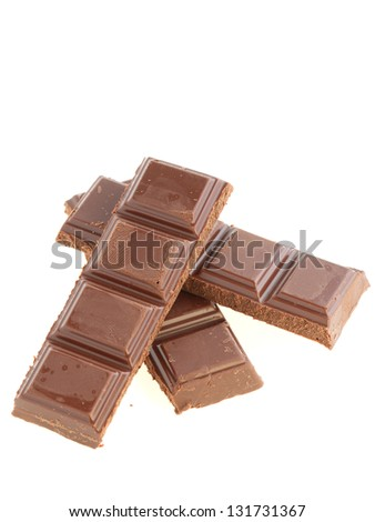 chocolate on white background - stock photo