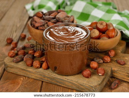 chocolate paste on a brown table - stock photo