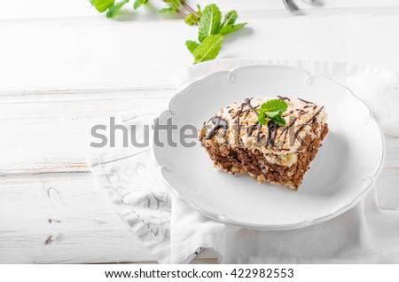 Chocolate Pavlova Cake, delicious cake from egg whites, nuts and chocolate! - stock photo