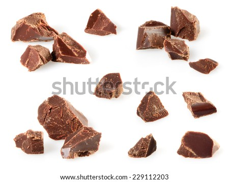 Chocolate pieces isolated on white. Collection - stock photo