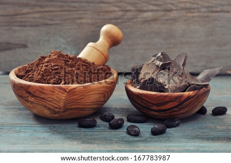 Chocolate pieces with cocoa beans and cocoa powder on wooden background - stock photo