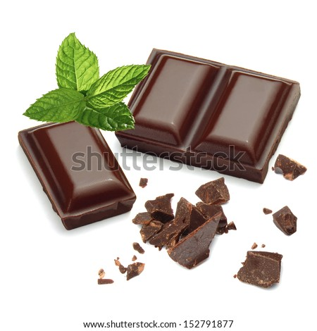 Chocolate pieces with mint on white background - stock photo