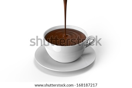 chocolate poured into the cup, on a white background - stock photo