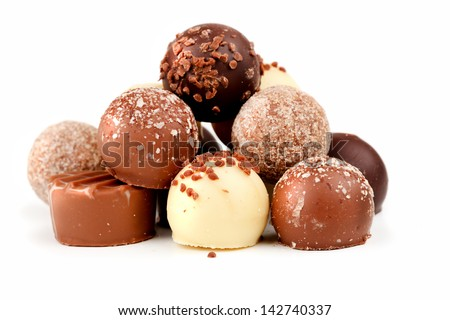 chocolate pralines  - stock photo