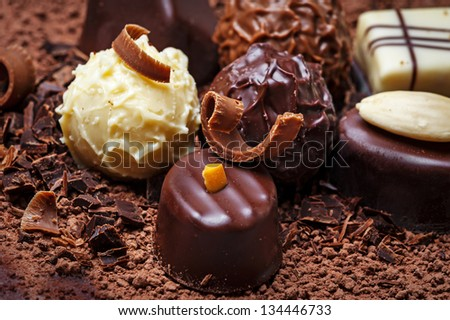 chocolate pralines close up - stock photo