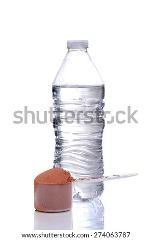 chocolate protein powder scoop and water bottle isolated on white background - stock photo
