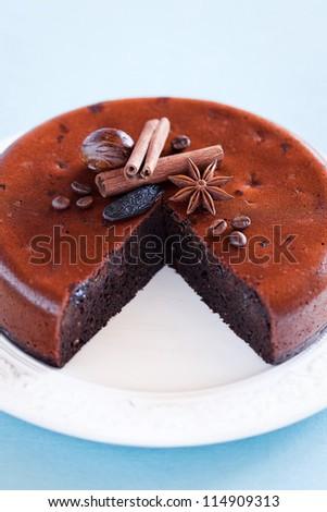 Chocolate, prunes and oatmeal cake, selective focus - stock photo