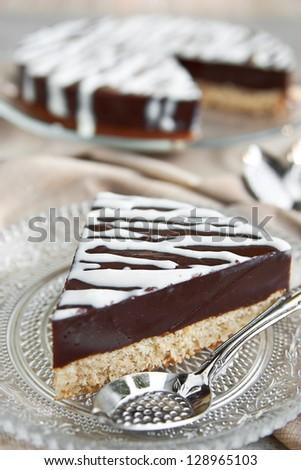 Chocolate pudding cake slice - stock photo