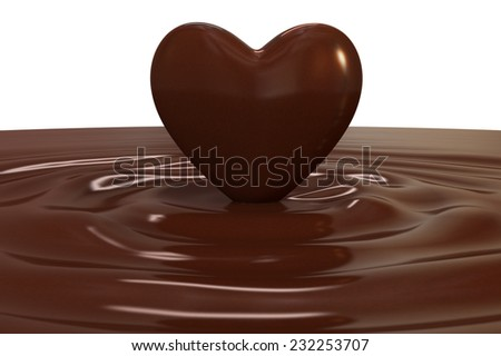 chocolate ripples with a chocolate heart on white background (3d render) - stock photo