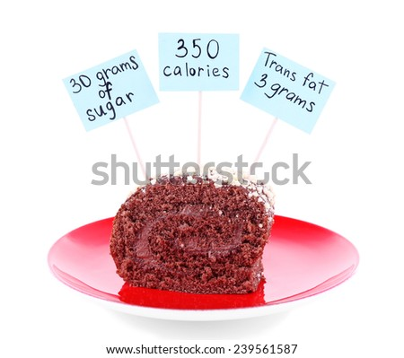 Chocolate roll with calories count labels on color plate isolated on white - stock photo