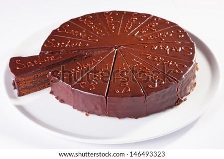 Chocolate sacher cake - stock photo