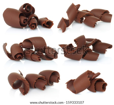Chocolate shavings set on white background   - stock photo