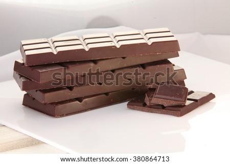 Chocolate slab - stock photo