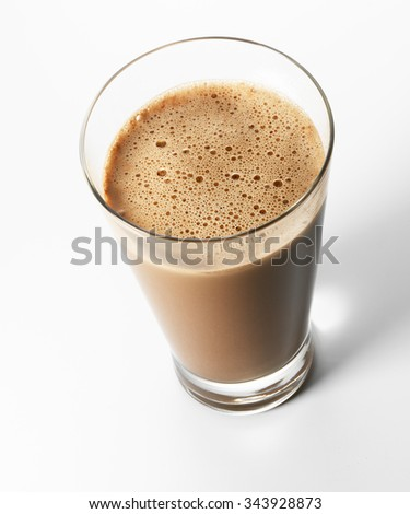 Chocolate soy milk, stevia in glass - stock photo