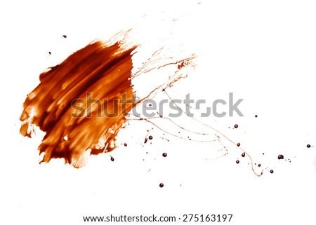 chocolate splash drop liquid mucky white background - stock photo