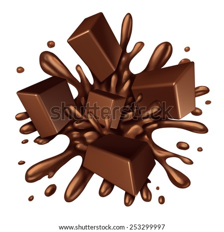 Chocolate splash liquid with chunks of melting candy exploding with a blast of dripping sweet brown syrup isolated on a white background as a food ingredient element symbol. - stock photo