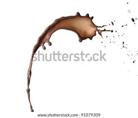 Chocolate splash on white background - stock photo