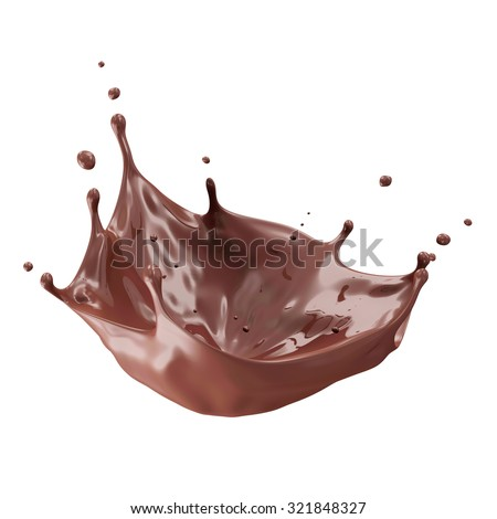 Chocolate Splash with place for Your Object isolated on white background - stock photo