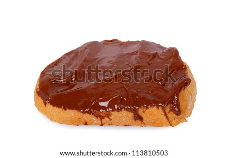 chocolate spread on slice of bread - stock photo