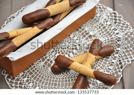 Chocolate Stick Cookies in a box - stock photo