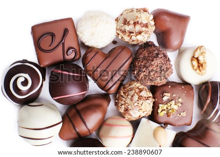 Chocolate sweet collection isolated on white background - stock photo