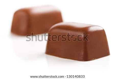 Chocolate Sweets isolated on a white background. Soft Focus. - stock photo