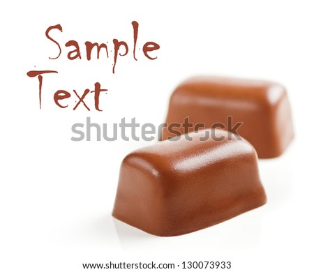 Chocolate Sweets isolated on a white background. Soft Focus.  Sample Text. - stock photo