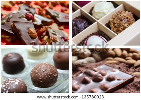 chocolate sweets picture background - stock photo