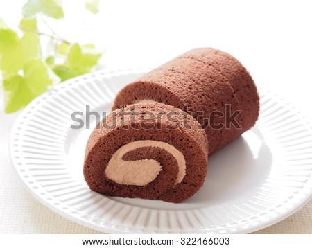 Chocolate Swiss Roll Cake - stock photo