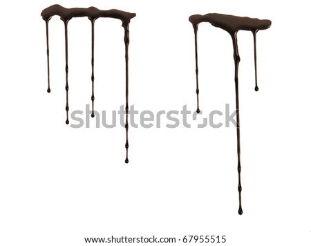 Chocolate syrup drip pattern isolated on white - stock photo