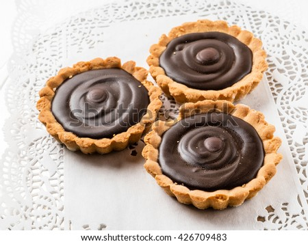 chocolate tarts - stock photo