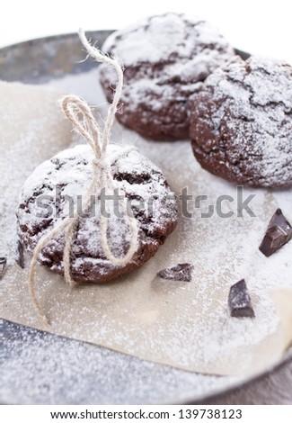 Chocolate tasty snow cap cookies for Christmas - stock photo