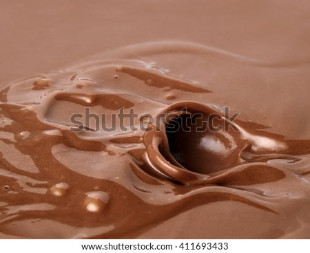 Chocolate. Template for the falling in the chocolate of berry or a piece of fruit                                - stock photo
